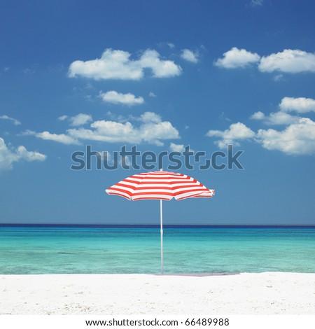 sunshade, Maria la Gorda Beach, Pinar del Rio Province, Cuba - stock photo