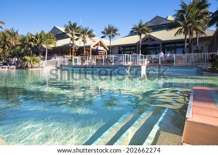 Sunshine Coast, Australia - July 1st, 2014: Hotel in the Sunshine Coast that offers 4 star accommodations and is centrally located to nearby holiday attractions.