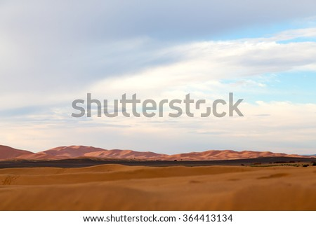sunshine in the desert   and dune - stock photo