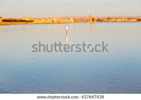 sunshine in the desert of morocco sand and  lake        dune - stock photo