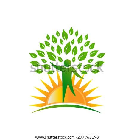 Sunshine people tree logo - stock photo