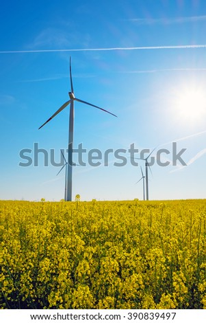 Sunshine, rapeseed and windwheels seen in rural Germany
