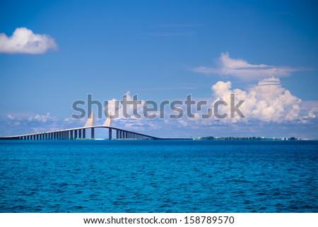 Sunshine Skyway Bridge in Florida - stock photo