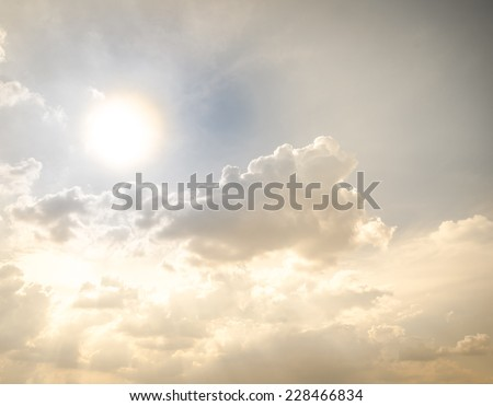 Sunshine with golden light look like heaven scene - stock photo