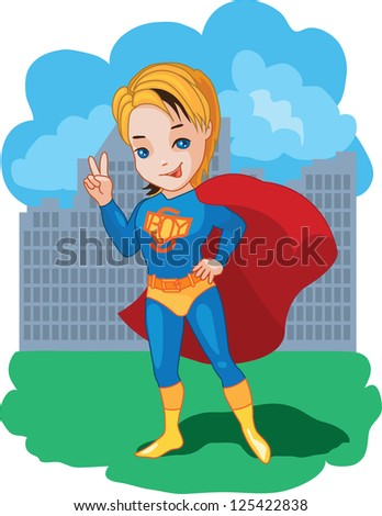 Super Boy with victory symbol  illustration