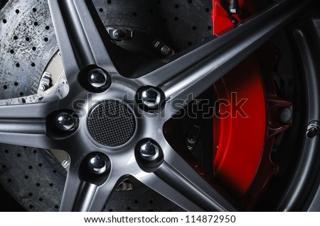 Super car disc-brake - stock photo