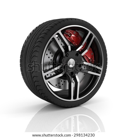 Super car disc-brake. Car wheel. - stock photo