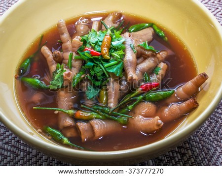 Super chicken foot soup - stock photo