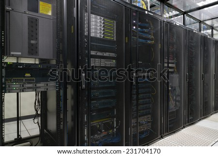 Super Computer, Server Room, Datacenter, Data Security Center.