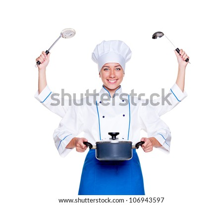 super cook with many hands. studio shot over white background