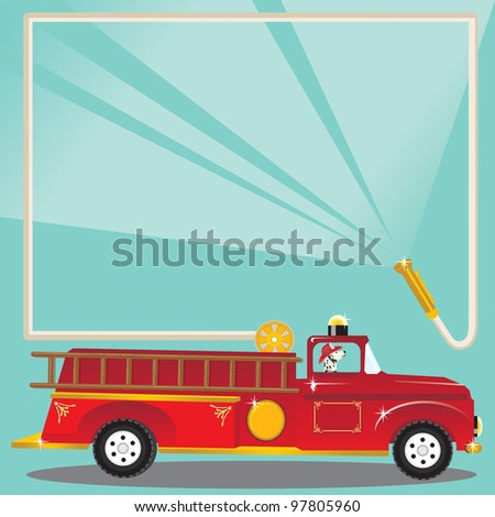Super cute firetruck with dalmatian fireman with helmet and a fire hose blasts water to welcome you to a birthday party! Place on truck to put your child's age. - stock photo