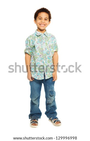 Super cute happy 5 years old black boy isolated on white, full height portrait - stock photo