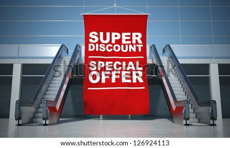 Super discount offer advertising flag and modern moving escalator stairs