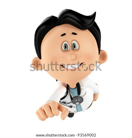 super doctor smiling - stock photo