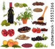 Super food collection, very high in antioxidants and vitamins, isolated over white background. - stock photo