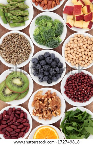 Super food health food selection in white bowls. - stock photo