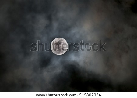 Super full moon on the cloudy night