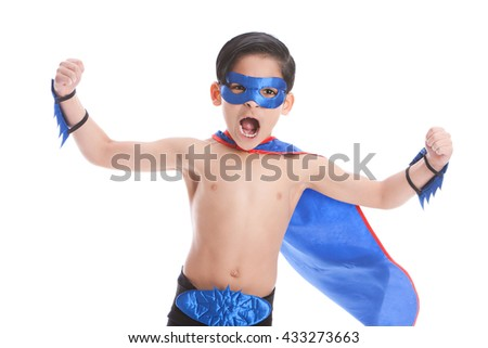 Super Fun!  Adorable, mixed race boy, pretending to be a superhero.  Isolated on white
