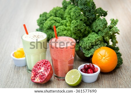 Super healthy natural drink juice smoothie fresh raw fruit vegetable glass  - stock photo
