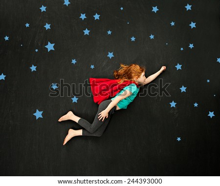 Super hero flying girl concept - stock photo