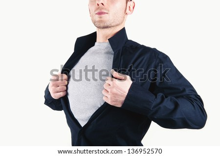 Super hero man portrait against white background.