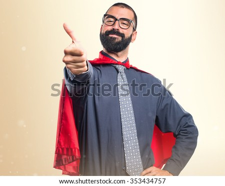 Super hero  with thumb up