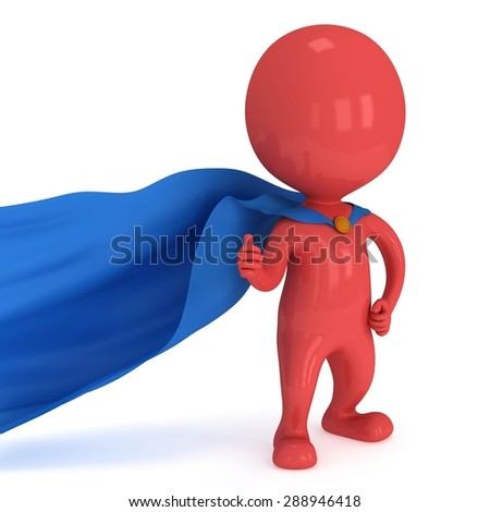 Super Like Concept. Brave superhero with blue cloak show thumbs up. Isolated on white.