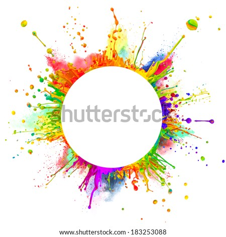 "Super macro shot of colored paint splashes and powder ""dancing"" on sound waves. In rounded shape with free space for text. Isolated on white background - stock photo"
