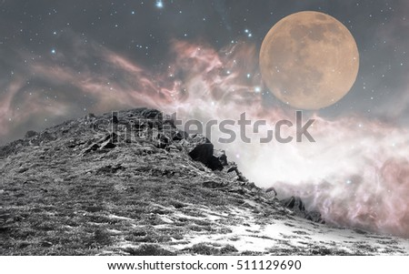 super moon over the fairy night sky with manny stars- elements of this image are furnished by NASA