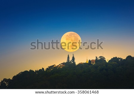 Super Moon over Wat Phrathat Doi Suthep Temple in ChiangMai, Thailand - stock photo