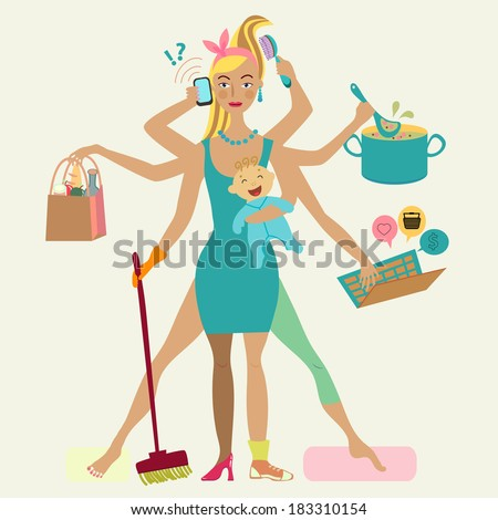 Super mother with newborn baby - cleaning, shopping, talking by phone, coocking, working, combing hair, making sport and doing pedicure at the same time. Multi super wife, beautiful lady - stock photo