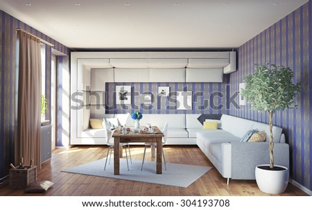 super sofa concept. living room interior. 3d design idea - stock photo