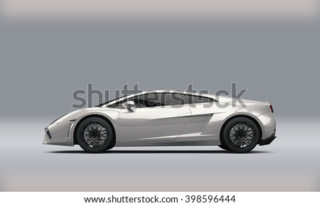 Super sport car on white background, 3D illustration - stock photo