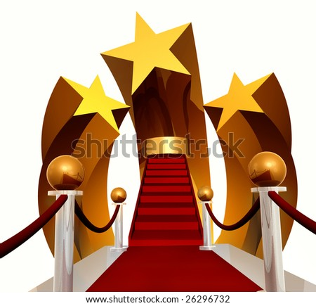 Super star stage and red carpet - stock photo