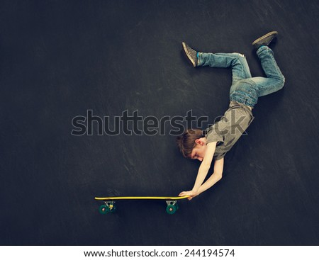 Super trick skateboarder.  - stock photo