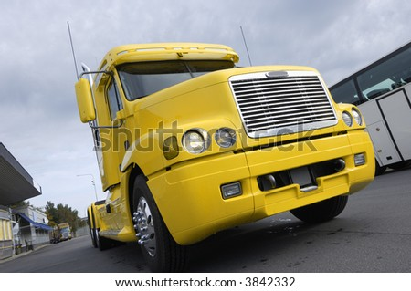 super truck american style in yellow color - stock photo