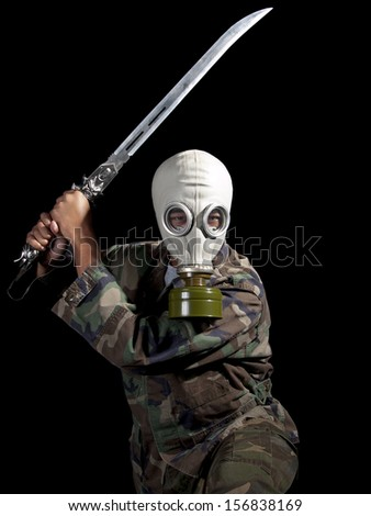 Super Villain / Super Hero wearing a gas mask costume for Halloween & Super Villain Super Hero Wearing Gas Stock Photo (Edit Now ...