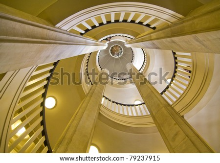 Super wide angle shot of a stair case