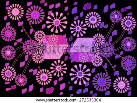 Superb   beautiful  unique  modern    abstract design  with floral and geometric  motifs superimposed   on a  plain black  background ideal for  charming decorative     elegant  wallpapers. - stock photo