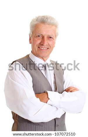 Superb elderly man in suit on white background