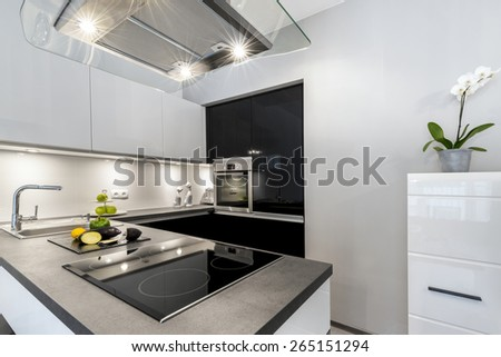 Superb luxury kitchen with granite worktop in black and white style - stock photo