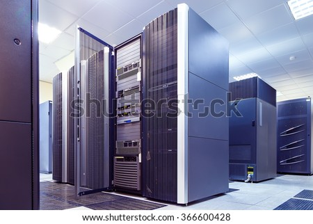 supercomputer clusters in the room data center - stock photo