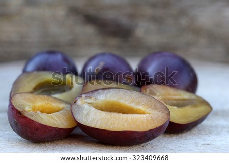 superfood, plums and chia seeds - stock photo