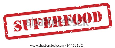 Superfood red rubber stamp vector for food nutrition concept - stock photo
