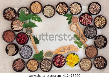 Superfood with herb and spice selection used in natural alternative medicine for women. - stock photo