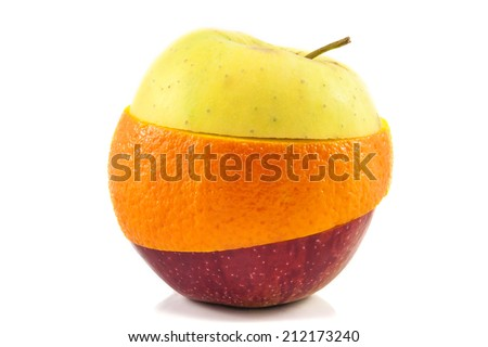 Superfruit - yellow and red apple and orange