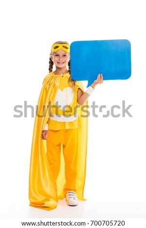 supergirl in yellow costume holding empty speech bubble isolated on white  sc 1 st  Shutterstock & Supergirl Yellow Costume Holding Empty Speech Stock Photo (Royalty ...