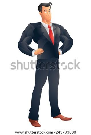 Superhero business man posing - stock photo