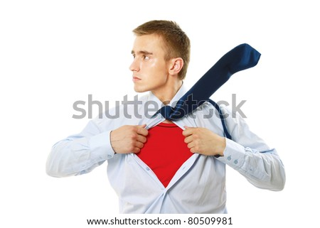 Superhero businessman - stock photo