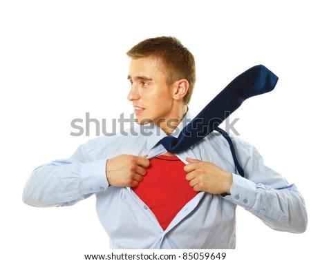 Superhero businessman - stock photo